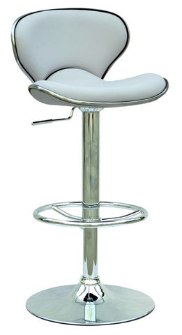 Chintaly Pneumatic Gas Lift Adjustable Height Swivel Stool White Pu 0364-AS-WHT