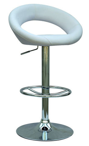 Chintaly Pneumatic Gas Lift Adjustable Height Swivel Stool White Pu 0379-AS-WHT
