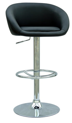 Chintaly Pneumatic Gas Lift Adjustable Height Swivel Stool Black Pu 0380-AS-BLK