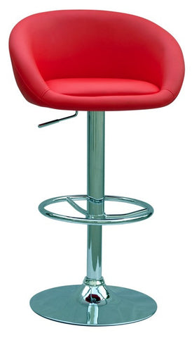 Chintaly Pneumatic Gas Lift Adjustable Height Swivel Stool Red Pu 0380-AS-RED