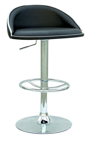Chintaly Pneumatic Gas Lift Adjustable Height Swivel Stool Black Pu 0388-AS-BLK