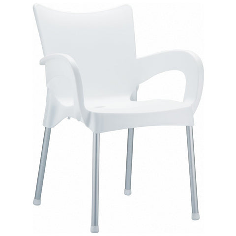 Compamia Romeo Resin Dining Arm Chair White ISP043-WHI