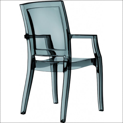 Compamia Arthur Polycarbonate Modern Dining Chair Transparent Black ISP053-TBLA