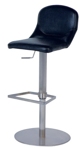 Chintaly Pneumatic Gas Lift Adjustable Height Swivel Stool Black Pu 0567-AS-BLK