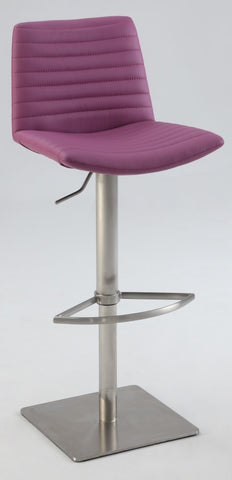 Chintaly Ribbed Back And Seat Pneumatic Stool Purple Pu 0572-AS-PUP
