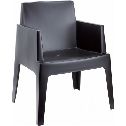 Compamia Box Resin Outdoor Dining Arm Chair Black ISP058-BLA