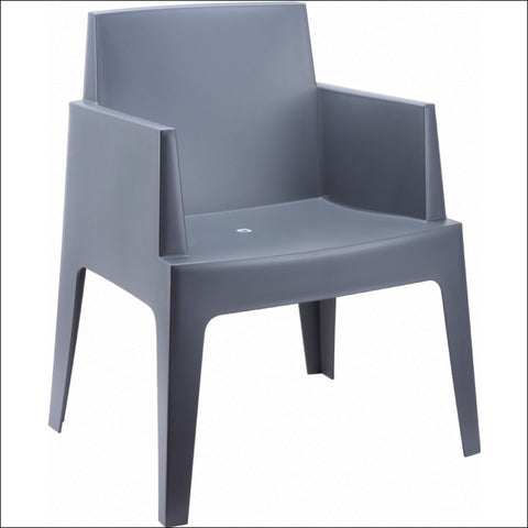 Compamia Box Resin Outdoor Dining Arm Chair Dark Gray ISP058-DGR