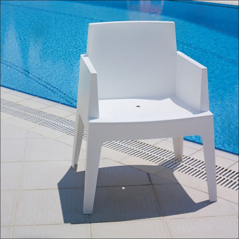 Compamia Box Resin Outdoor Dining Arm Chair White ISP058-WHI