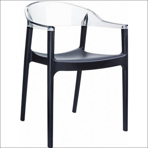Compamia Carmen Modern Dining Chair Black Seat Transparent Clear Back ISP059-BLA-TCL