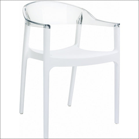 Compamia Carmen Modern Dining Chair White Seat Transparent Clear Back ISP059-WHI-TCL