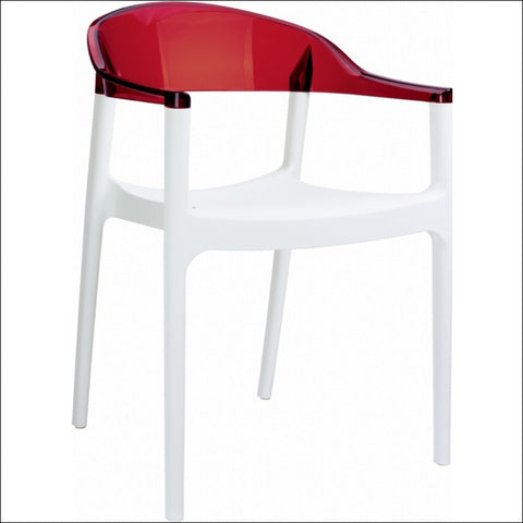 Compamia Carmen Modern Dining Chair White Seat Transparent Red Back ISP059-WHI-TRED
