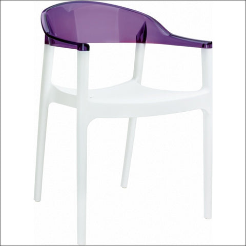 Compamia Carmen Modern Dining Chair White Seat Transparent Violet Back ISP059-WHI-TVIO
