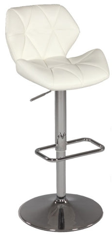 Chintaly Pneumatic Gas Lift Swivel Height Stool White Pu 0645-AS-WHT