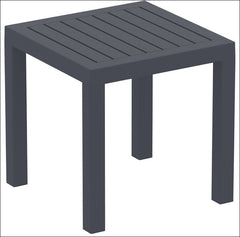 Compamia Ocean Square Resin Side Table Dark Gray ISP066-DGR - YourBarStoolStore + Chairs, Tables and Outdoor  - 1