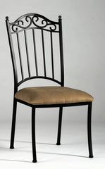 Chintaly Wrought Iron Side Chair Taupe Suede 0710-SC - YourBarStoolStore + Chairs, Tables and Outdoor