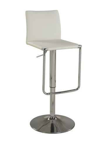 Chintaly Low Back Pneumatic Stool White Pu 0801-AS-WHT