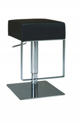 Chintaly Pneumatic Gas Lift Adjustable Height Swivel Stool Black Pvc 0811-AS-BLK