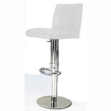 Chintaly Pneumatic Gas Lift Adjustable Height Swivel Stool White Pvc 0814-AS-WHT