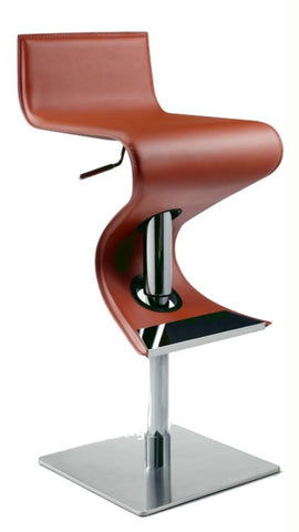 Chintaly Pneumatic Gas Lift Adjustable Height Swivel Stool Rust Rec. Leather 0833-AS-RST