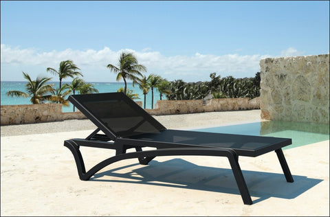Compamia Pacific Sling Chaise Lounge Black Frame Black Sling ISP089-BLA-BLA