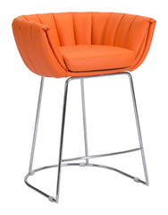 Latte Counter Height Barstool - Orange