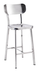 Winter Counter Height Barstool - Polished Steel