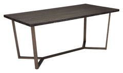 Brooklyn Dining Table - Grey Oak & Antique Brass