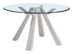 Beaumont Glass Round Dining Table - Sun Drenched Acacia