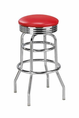 "Regal Seating 26"" Steel Double Ring Backless Retro Stool 1107"