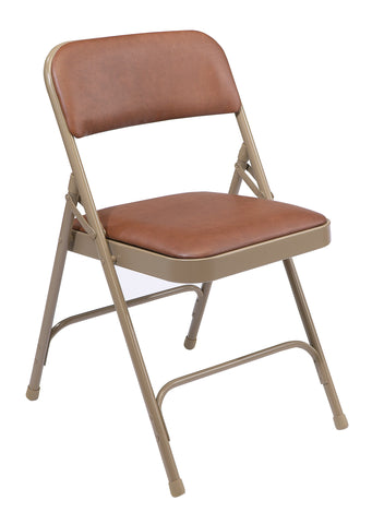 Brown on Beige Vinyl Upholstered Premium Folding Chairs 1203