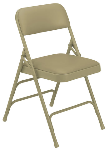 Beige on Beige Vinyl Upholstered Premium Folding Chairs Triple Brace Double Hinge 1301