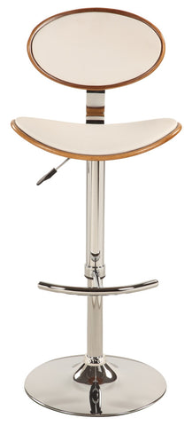 Chintaly Plywood Back&Seat Pneumatic Stool White Pu 1309-AS-WHT