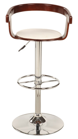 Chintaly Bentwood Pneumatic Swivel Stool White Pu 1331-AS-WHT