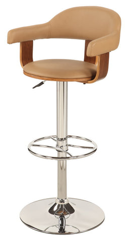 Chintaly Upholstered Back Pneumatic Swivel Stool Khaki Pu 1386-AS-TPE