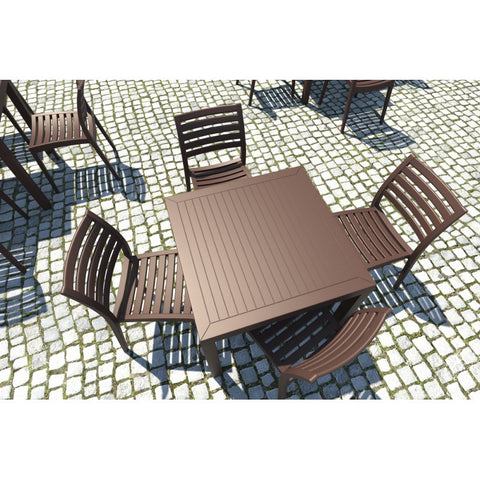 Compamia Ares Resin Square Dining Set with 4 chairs Brown ISP1641S-BRW