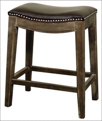 Elmo Bonded Leather Counter Stool Mystique Gray Frame, Brown - YourBarStoolStore + Chairs, Tables and Outdoor