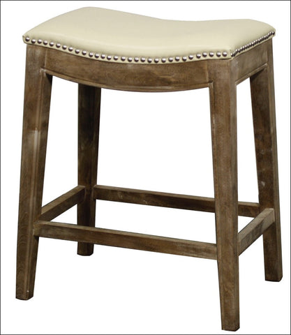 Elmo Bonded Leather Counter Stool Mystique Gray Frame, Beige