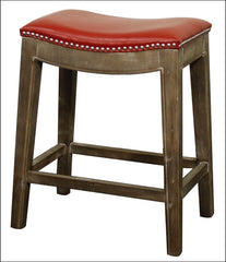 Elmo Bonded Leather Counter Stool Mystique Gray Frame, Red - YourBarStoolStore + Chairs, Tables and Outdoor