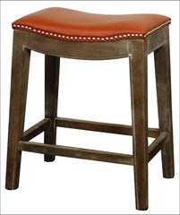 Elmo Bonded Leather Counter Stool Mystique Gray Frame, Pumpkin - YourBarStoolStore + Chairs, Tables and Outdoor