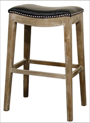 Elmo Bonded Leather Bar Stool Mystique Gray Frame, Black - YourBarStoolStore + Chairs, Tables and Outdoor