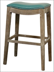 Elmo Bonded Leather Bar Stool Mystique Gray Frame, Turquoise - YourBarStoolStore + Chairs, Tables and Outdoor
