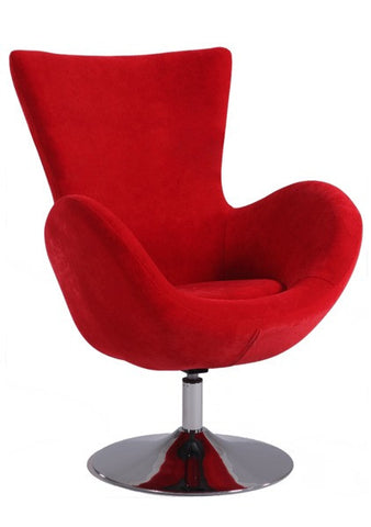 Chintaly Modern Swivel Arm Fun Chair Red Velvet 2001-ACC-RED