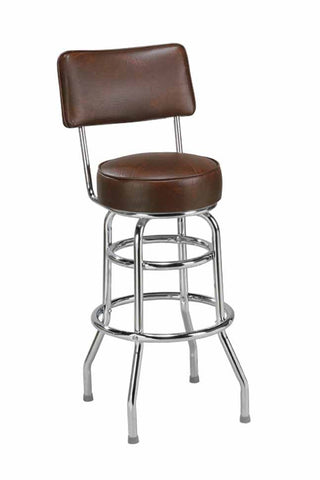 "Regal Seating 24"" Steel Double Ring Stool With Back 2106"