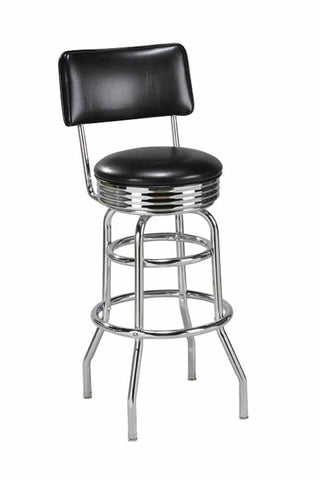"Regal Seating 24"" Steel Double Ring Retro Stool With Back 2107"