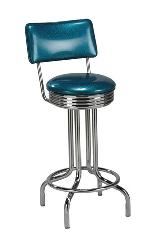 "Regal Seating 30"" Steel Retro Single Ring Stool-With Back 2131"