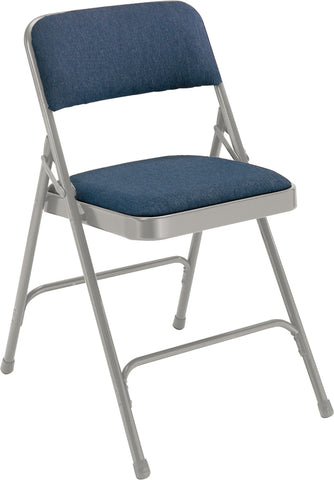 Blue  on Grey  Fabric Upholstered Premium Folding Chairs 2205