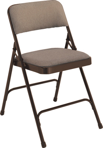 Walnut on Brown Fabric Upholstered Premium Folding Chairs 2207