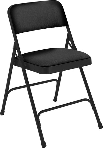 Midnight Black on Black Fabric Upholstered Premium Folding Chairs 2210