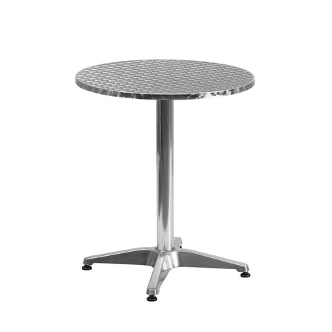 Commercial Bar Table - 23.5'' ROUND ALUMINUM INDOOR-OUTDOOR TABLE WITH BASE