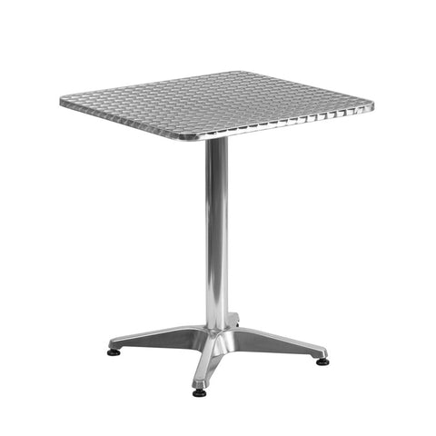 Commercial Bar Table - 23.5'' SQUARE ALUMINUM INDOOR-OUTDOOR TABLE WITH BASE